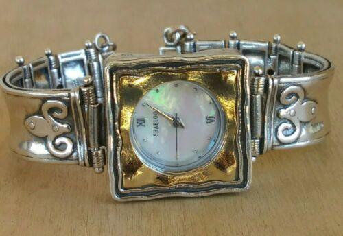 "Shablool Sterling W/Gold Bezel Square Watch Signed Handmade Israel 6.5"" New Batt"