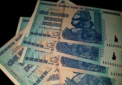 ZIMBABWE 100 TRILLION DOLLARS AA 2008 SERIES P91 UNC HUNDRED TRILLION ZIMBABWE