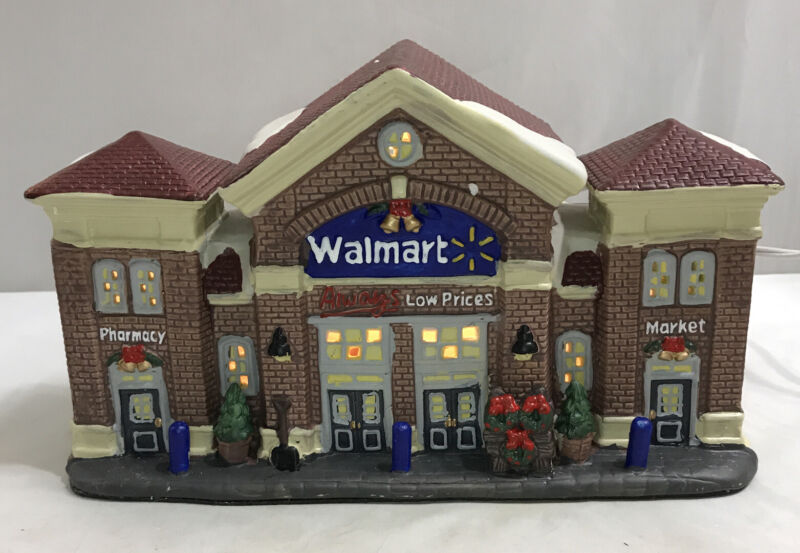 Vtg Holiday Time Christmas Village - WALMART STORE ~ Light Up Building - IN BOX