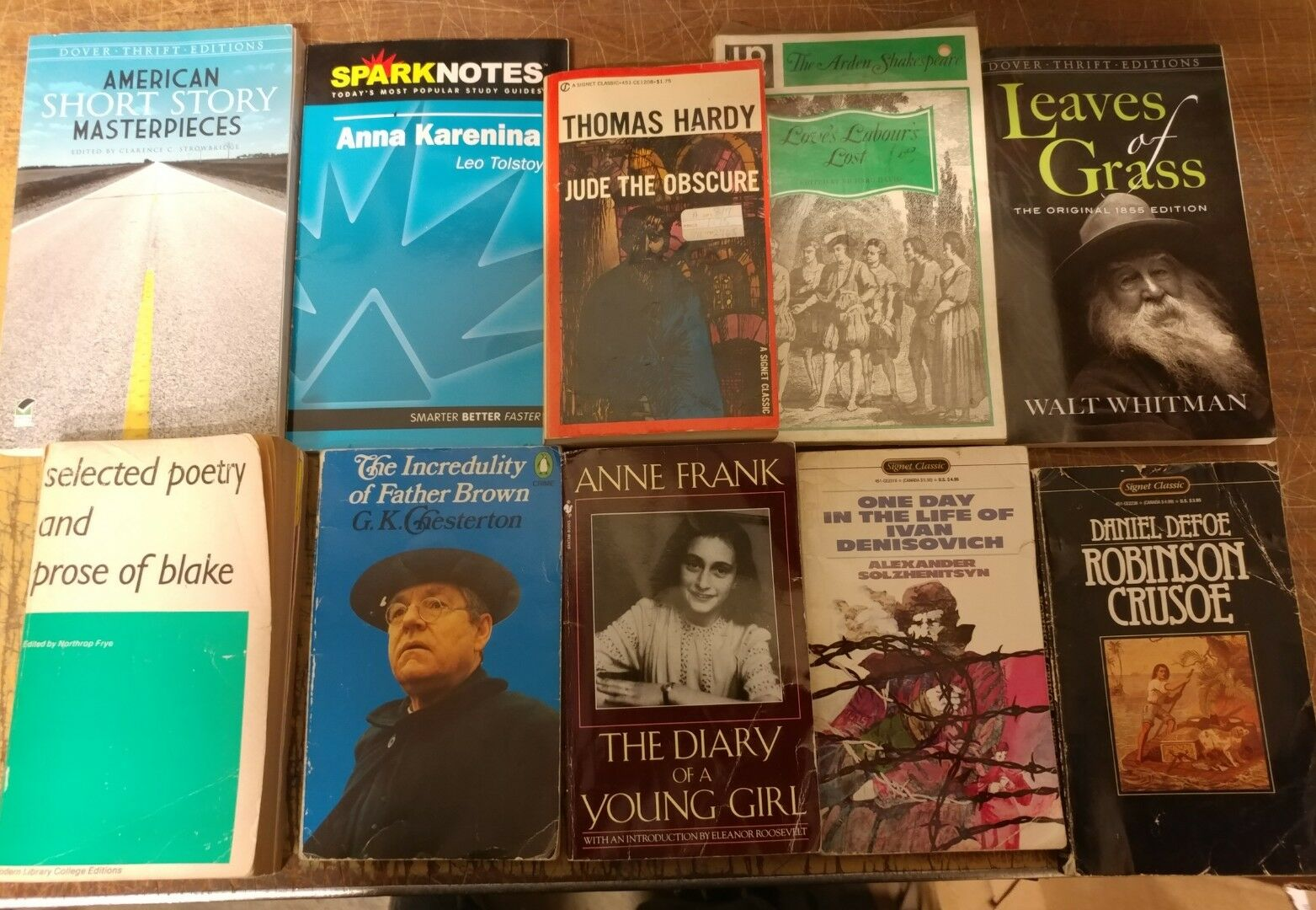 Lot of 10 Classic Literature Book Penguin Orwell Dickens Steinbeck Mix UNSORTED
