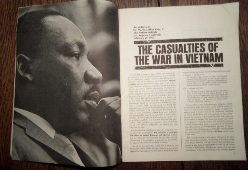 DR. MARTIN LUTHER KING JR.  SPEAK ON THE WAR IN VIETNAM ~ Rare 1967 publication