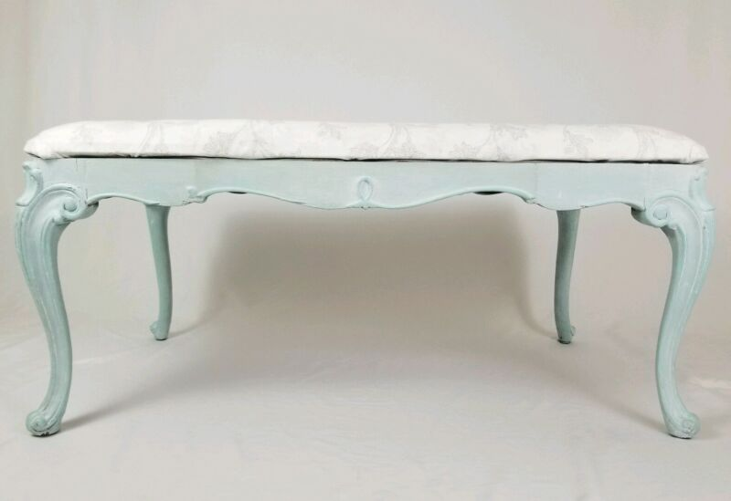 Vintage French Bench Window Seat Upholstered Queen Anne Louis XVI Style Boudoir