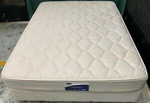 Good condition white queen bed base with mattress. Pick up or deliver