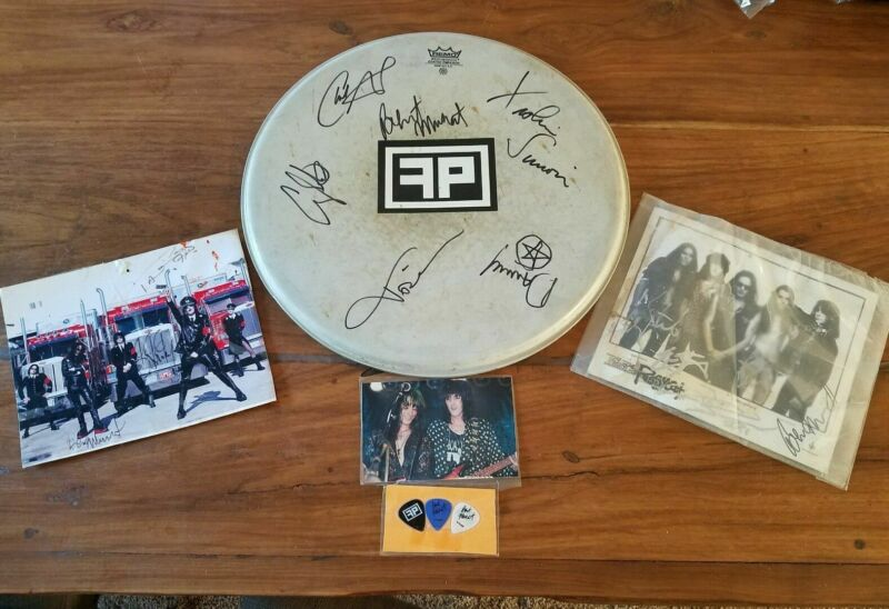 """Faster Pussycat Hand Signed 16"""" Drum Head photos and Picks"""