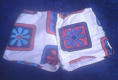 vtg 60s JANTZEN swim/surf  shorts MOD pop art red+white+blue cloth trunks 38 M/L