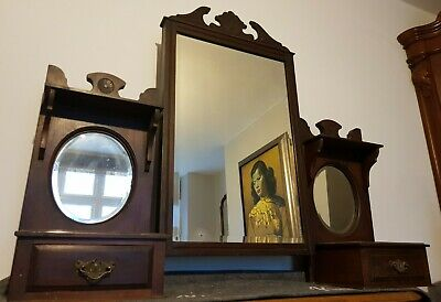 Beautiful Antique Mahogany Triple Bevelled Mirror Dressing Table Top Set