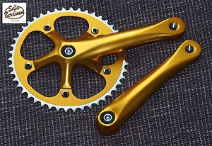 Single Speed Kurbel Sellax 170mm 46Z Fixie Messenger Kurbelsatz rotgold