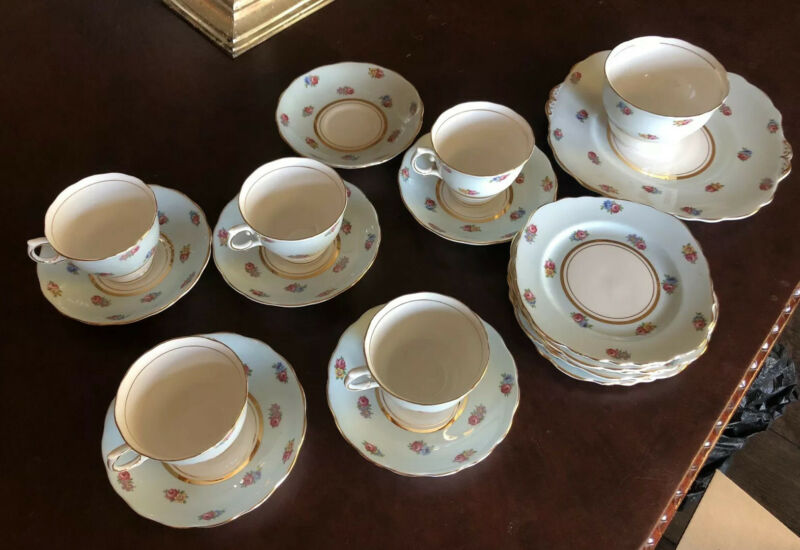 LOT Of 1939 Colclough China England Blue COFFEE TEA CUP & SAUCER Floral