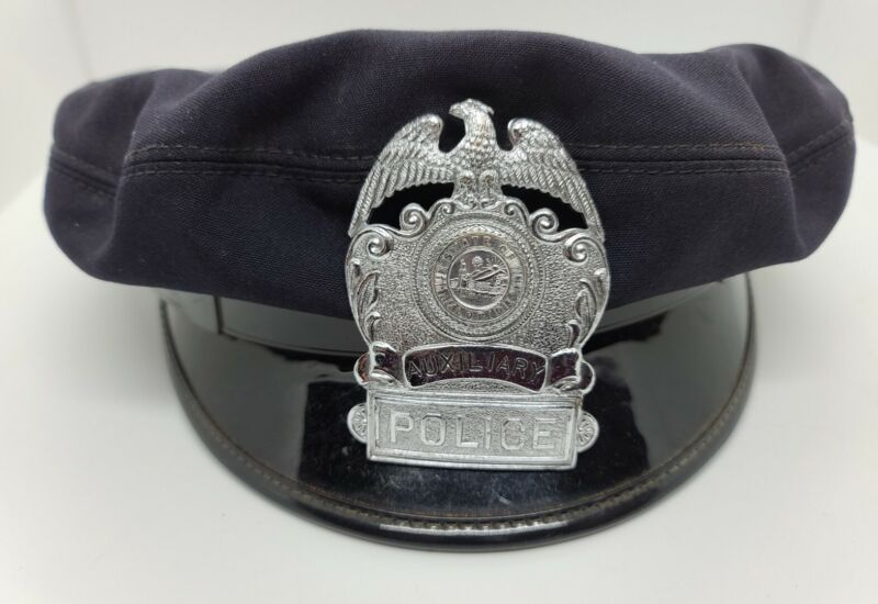 Antique Auxiliary Police State of Florida Police Cap Hat 7 1/8 Obsolete Florida