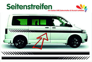 VW Bus T4 EVO Custom Seitenstreifen Aufkleber Dekor Set - in schwarz matt