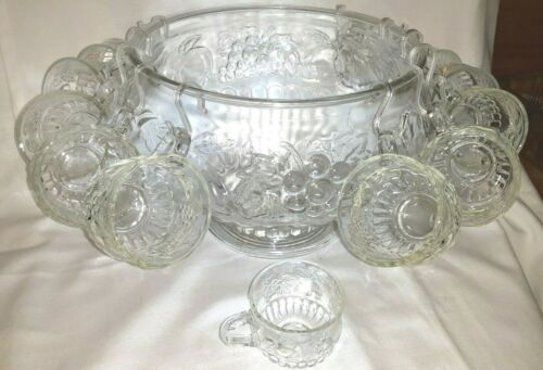 Vintage Jeannette 24pc Crystal Punch Bowl Set, Motif of Fruits Pattern W/Box USA