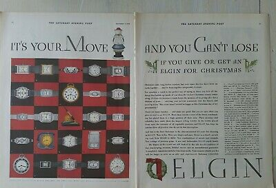 1929 Elgin wrist pocket watch clock fountain pen 2 page product vintage color ad