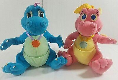 "Dragon Tales Cassie and Ord Plush Stuffed Animals Playskool 10"" 1999 Pink Blue"