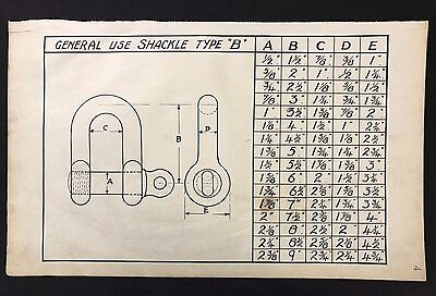 Harland & Wolff 1930's Original Eng Drawing - GENERAL USE SHACKLE TYPE B (P4)