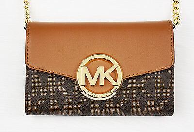New Michael Kors HUDSON Brown Logo Signature Crossbody Bag Clutch Phone Case