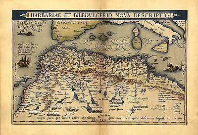 Northern Afrika Marokko Tunesien Libyen Reproduktion Antik Alt Ortelius
