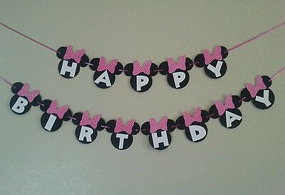 Minnie Mouse Happy Birthday Pink  Banner, free shipping](Pink Minnie Mouse Decorations)