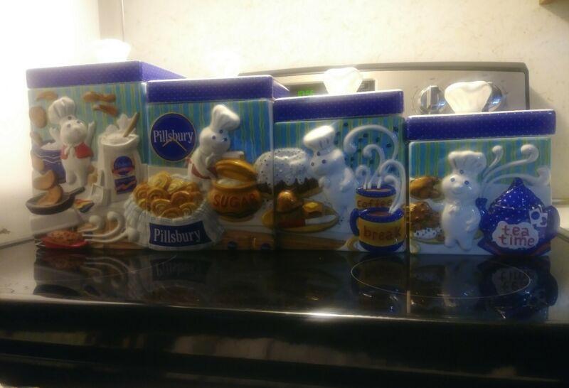 Pillsbury Doughboy ceramic Danbury Mint kitchen canister jar set