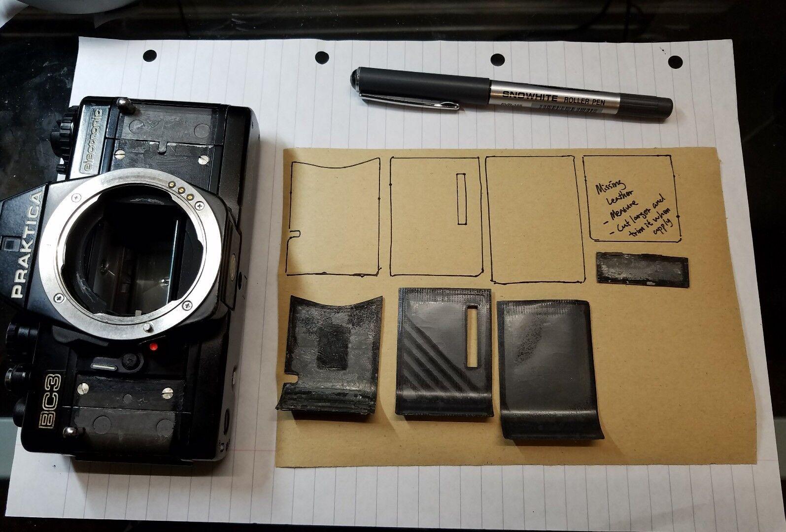 Camera Body Recovering PU Leather Self-Adhesive Sheet [BLACK] Repair DIY