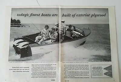 1958 Lyman 18ft outboard Runabout motorboat fishing 2-page ad