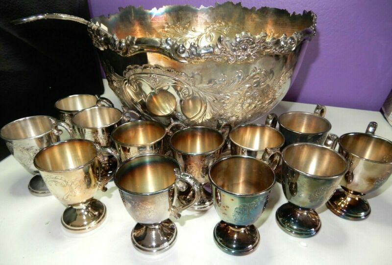 ANTIQUE Hand Chased SILVER PLATE PUNCH BOWL SET 12 cups BOWL & LADLE England
