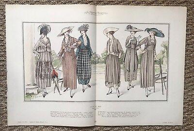 Gran Fototipia Con acuarela - Ilustración moda - Vestido para el Madera - C.1915, usado segunda mano  Embacar hacia Spain