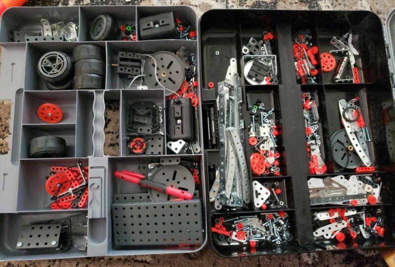 Meccano Erector Sets Wheels Parts Pieces Lot with Case, Motor +