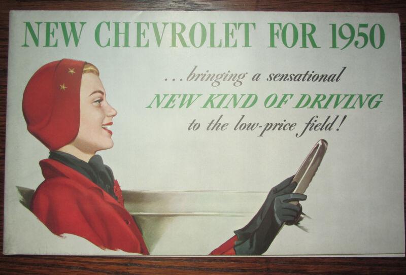 1950 CHEVROLET Dealer Catalog Fold Out Salesmans Car Brochure ✨