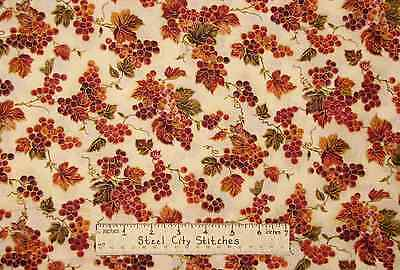 Cornucopia Grapes Leaves Grapevine Vineyard Gold Accent #45404 Cotton Fabric BTY Gold Grapes Accents
