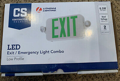Lithonia Lighting Contractor Select White Led Exit Emergency Combo Green