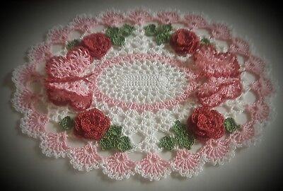 Crochet Chic Butterfly Roses Handmade Doily!Custom Order by leochic033