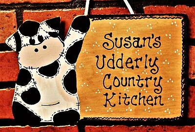 COW SIGN Personalized UDDERLY COUNTRY KITCHEN Wall Art Hanger Plaque Farm Decor
