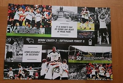 *DERBY COUNTY v NOTTINGHAM FOREST GLOSSY POSTER OCTOBER 15th 2017~FREE POSTAGE*