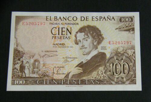 "SPAIN BANKNOTE 100 PESETAS 1965  ""BECQUER""   UNC-"