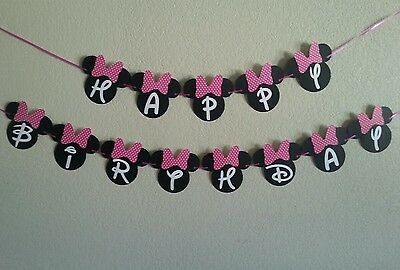 Minnie Mouse Happy Birthday Pink or Red  Banner. free shipping (Minnie Mouse Birthday Decorations)