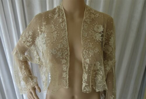 EXQUISITE ANTIQUE VALENCIENNES LACE BOLERO/JACKET LONG BELL SLEEVES..ECRU