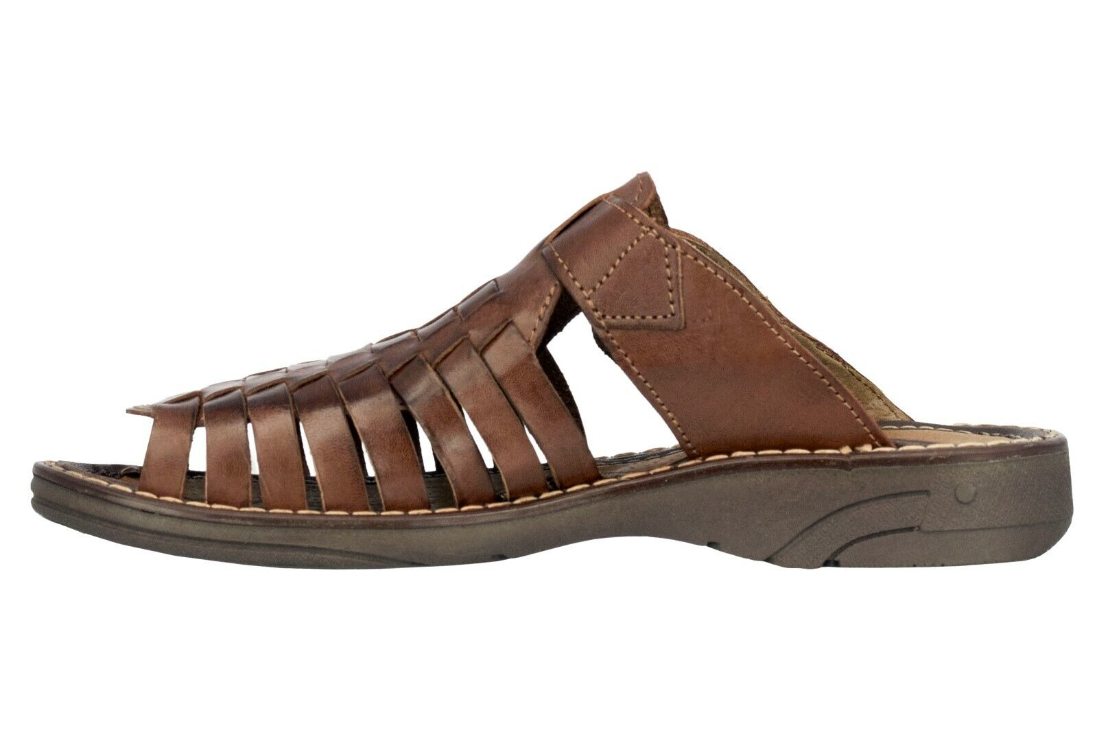Mens Cognac Authentic Mexican Huaraches Sandals Genuine Woven Leather Slip On 1