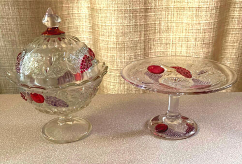 """WESTMORELAND DELLA ROBBIA FLASHED 7"""" FOOTED CANDY DISH & 6"""" FOOTED COMPOTE MINT"""