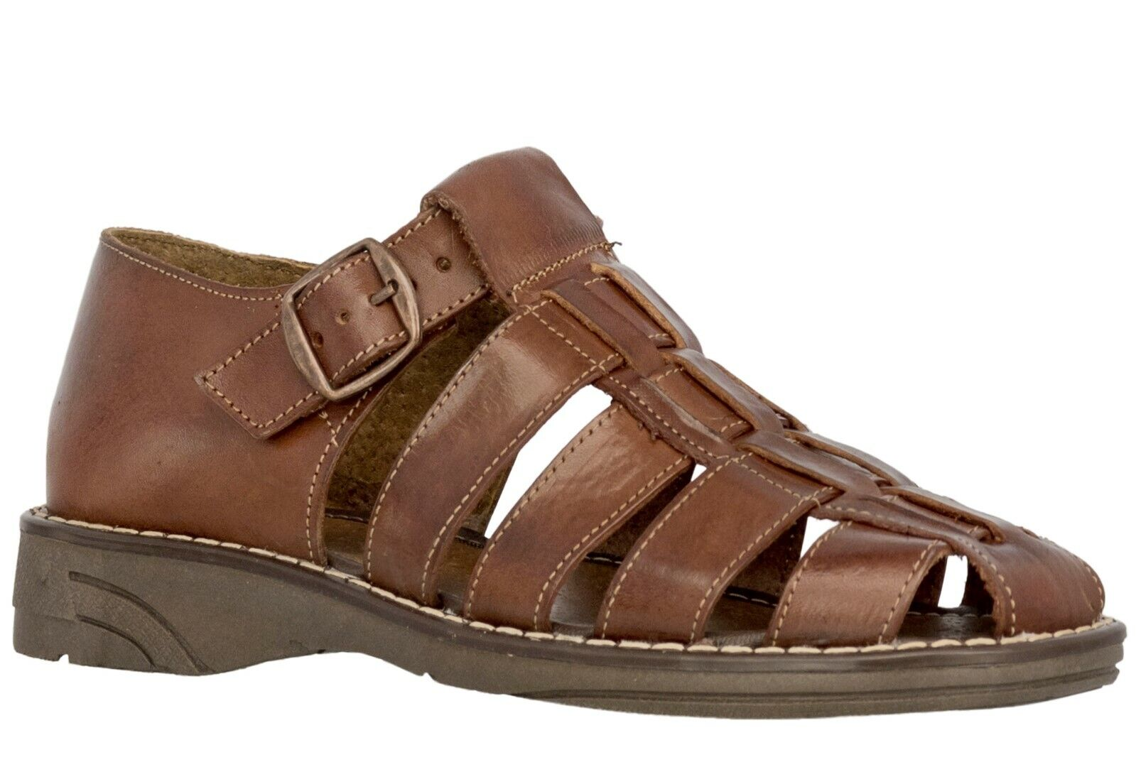 Mens Genuine Cognac Brown Leather Mexican Huaraches Buckle Sandals Flip Flops 1