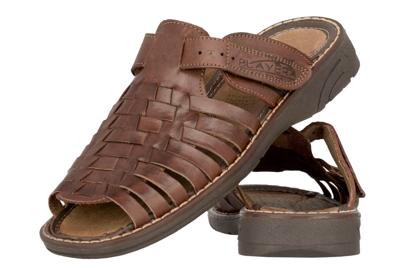 Mens Cognac Authentic Mexican Huaraches Sandals Genuine Woven Leather Slip On