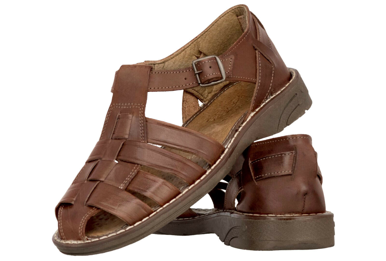 Men's Mexican Huaraches Real Leather Brown Sandals Strapped Closed Shoes