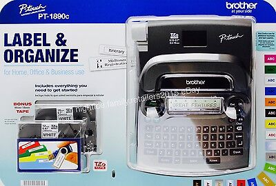 Brother P-touch Pt-1890c Labeling Maker System Bonus 6 Aa Batteries 2 Tapes