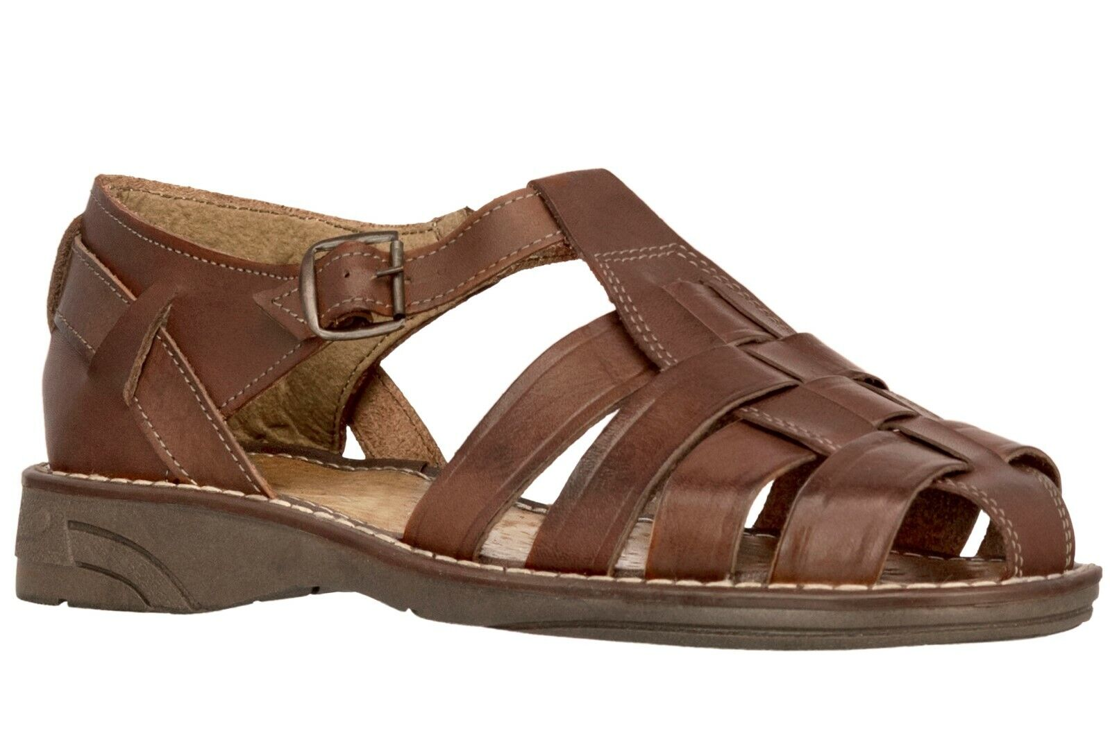 Men's Mexican Huaraches Real Leather Brown Sandals Strapped Closed Shoes 1