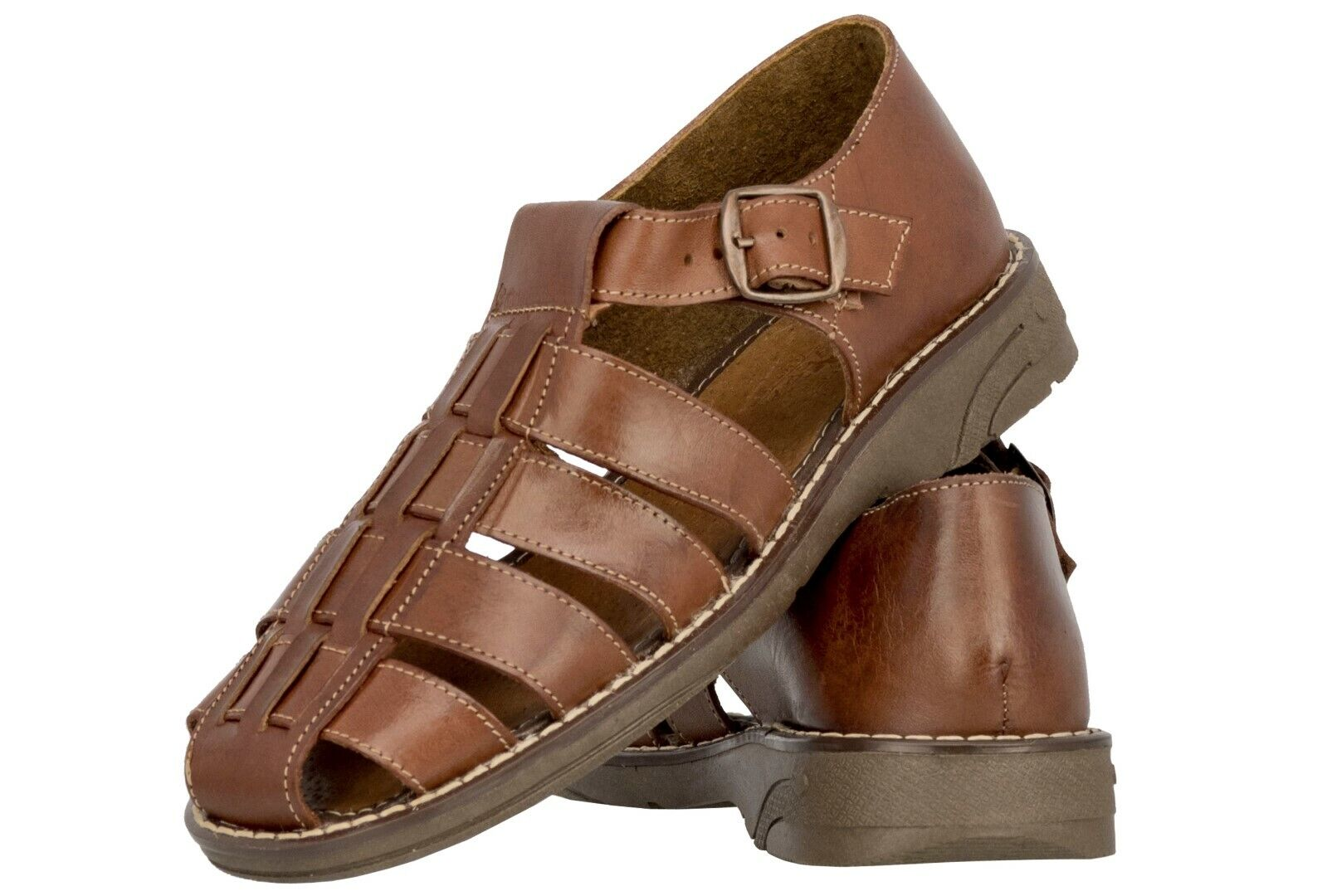 Mens Genuine Cognac Brown Leather Mexican Huaraches Buckle Sandals Flip Flops