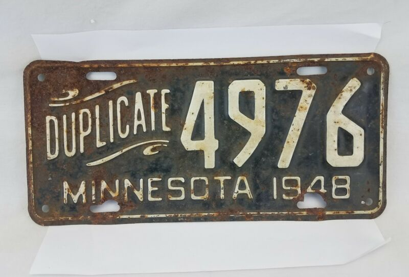 Vintage 1948 Minnesota Duplicate Script License Plate # 4976 Collector Man Cave