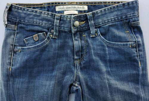 Women s FRENCH CONNECTION Jeans Size 2 27x33 Blue Denim Distressed Boot Flare  - $12.95
