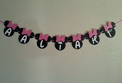 Minnie Mouse Name and Age Polka Dot Pink or Red Banner. ONLY NAME AND AGE BANNER](Red Minnie Mouse Decorations)