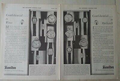 1929 Hamilton wrist pocket watch 2 page wives husbands vintage ad