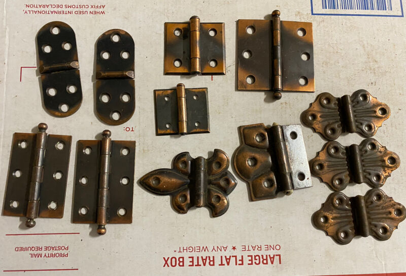 3 pairs + 6 singles Japanned copper flashed door cabinet hinges antique hardware