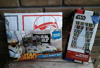 Star Wars Full Sheet Set and Pair of Window Panels Curtains Combo (Full Duo Panel Bed)